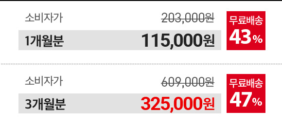 1개월분 115000원, 3개월분 325000원