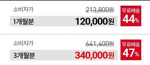 1개월분 120000원, 3개월분 340000원