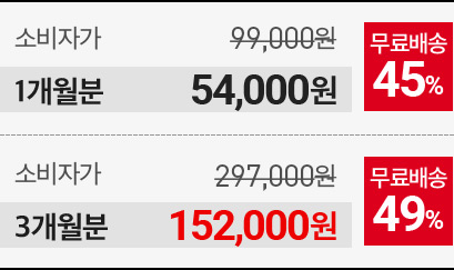 1개월분 54000원, 3개월분 152000원