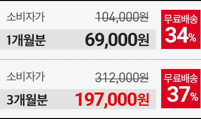 1개월분 69000원, 3개월분 197000원